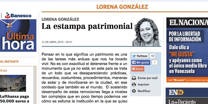 La estampa patrimonial, por Lorena González